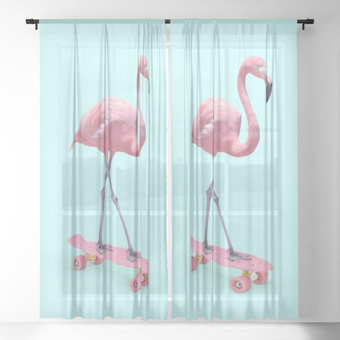 SKATE FLAMINGO Sheer Curtain