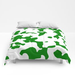 Large Spots - White and Green Comforters