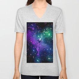 Eagle Nebula Purple Green Teal Unisex V-Neck