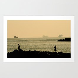 Ships In The Harbour Art Print