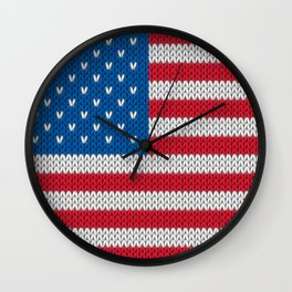 American Flag - knitted Wall Clock