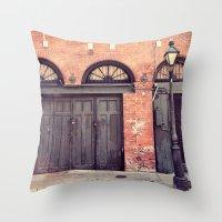 doors Throw Pillows featuring Black Doors by Erin Johnson