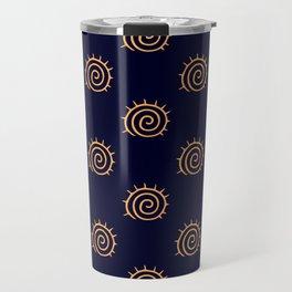 Navy Blue and yellow Swirl sun pattern Travel Mug