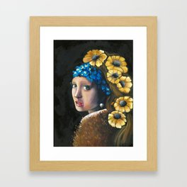 Contemporary Girl with the Pearl Earring Framed Art Print