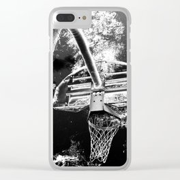 Black And White Basketball Art Clear iPhone Case