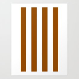 Vertical Stripes - White and Brown Art Print