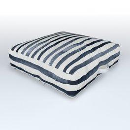 Simply Shibori Stripes Indigo Blue on Lunar Gray Outdoor Floor Cushion