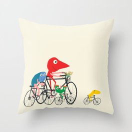 Bikers Picnic Throw Pillow