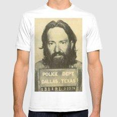 Willie Nelson Mug Shot White MEDIUM Mens Fitted Tee