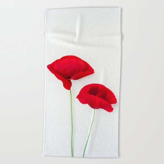 Two Red Poppies Beach Towel
