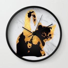 Golden Cat Wall Clock