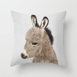 Donkey - Colorful Throw Pillow