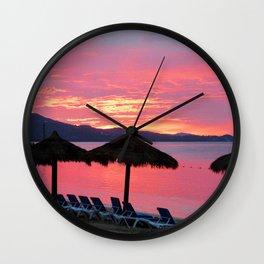 Hot Pink Tropical Beach Sunset Photo  Wall Clock