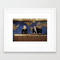 amy poehler Framed Art Prints featuring seth & amy by Bad Movies