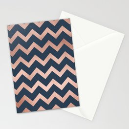 Blue & Pink Chevron Stationery Cards