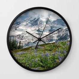 Scenic Landscape Art, Mt. Rainier, Mt. Rainier National Park, Paradise Wall Clock