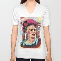 frida V-neck T-shirts featuring Frida by Juan Alonzo