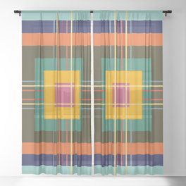 Fine Lines on Retro Colored Squares Sheer Curtain