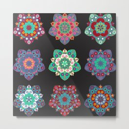 Boho Floral Mandalas on Black Metal Print