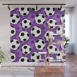 Football Pattern on Purple Background Wall Mural
