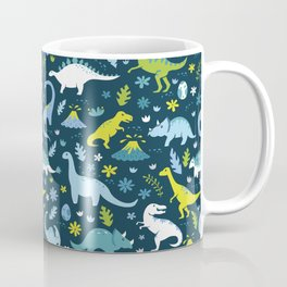 Kawaii Dinosaurs in Blue + Green Coffee Mug