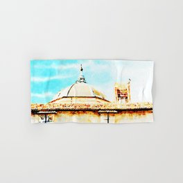 L'Aquila: dome and collapsed bell tower Hand & Bath Towel