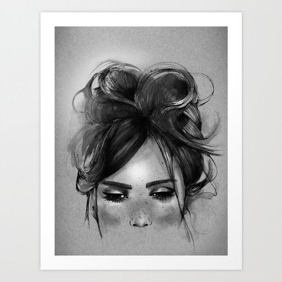 Sweet freckles girl face Art Print