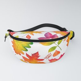 Fall Leaves Watercolor - White Fanny Pack
