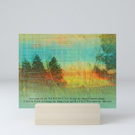 Serenity Prayer Colorful Trees Mini Art Print