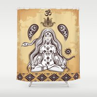 om Shower Curtains featuring om by flamenco72