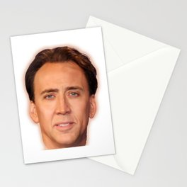Nicolas Cage Face   Funny Meme   Nic Cage Face Shirt   Gift For Men, Woman  Stationery Cards