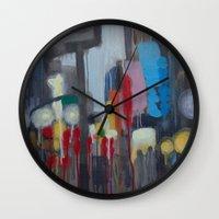 santa monica Wall Clocks featuring Santa Monica by Elizabeth Grimes