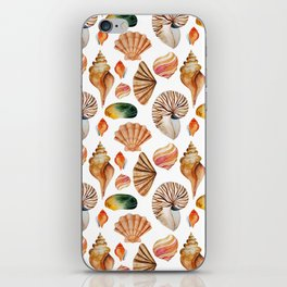 Coral pink orange watercolor nautical seashells iPhone Skin