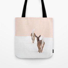 Deer in Winter on Blush Pink Tote Bag