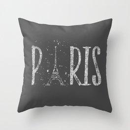 PARIS Typography | grey | silver splashes Throw Pillow