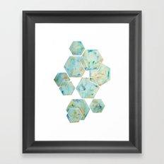 Blue Green Hexagon Arrangement Framed Art Print