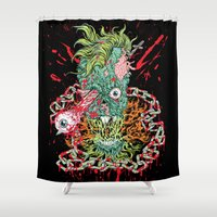 skateboard Shower Curtains featuring Dead Chains by Beery Method