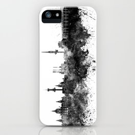 Hannover skyline in black watercolor iPhone Case
