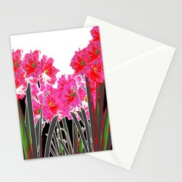 ABSTRACTED RED-PINK AMARYLLIS GARDEN BLACK-WHITE ART Stationery Cards