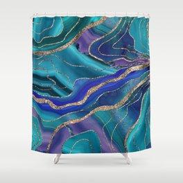 Purple Teal Blue Galaxy Nebula Agate Glitter Glam #1 #marble #decor #art #society6 Shower Curtain