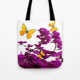 YELLOW BUTTERFLIES & PURPLE BOUGAINVILLEA FLOWERS Tote Bag