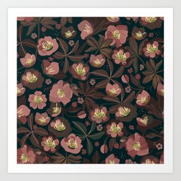 Moody helleborus | blush brown Art Print