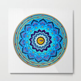 Blue Rose Mandala Metal Print