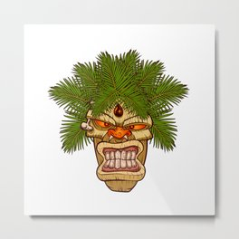 illustration of a tiki totem. Metal Print