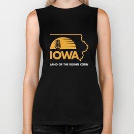Iowa: Land of the Rising Corn - Black and Gold Edition Biker Tank