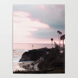 Laguna Beach | LoFi Relaxed Aesthetic Pinkish Sunset Palm Trees Hippie Ocean Horizon Waves Poster