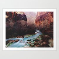 river Art Prints featuring Havasu Canyon Creek by Kevin Russ