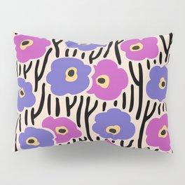 Mid Century Modern Wild Flowers Pattern Pink and Purple Pillow Sham