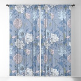 Lovely Seamless Floral Pattern With Subtle Poodles (Hand Drawn) Sheer Curtain