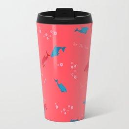 Pink Shark and Dolphin Travel Mug